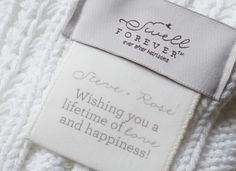 The Lyn Forever Blanket {throw} from Swell Forever: 100% Cotton, Personalized Message Tags, Made in USA, Support Adoption, White, light grey/green, Natural Colors. Handwritten custom message tags. Weddings, girlfriend, boyfriend, anniversary gifts. Wishing you a lifetime of love. Inspirational quotes.