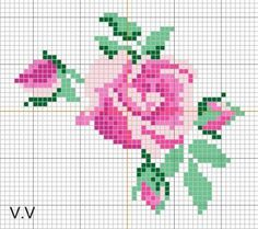 DragonBear: Free English Rose Cross-Stitch Pattern