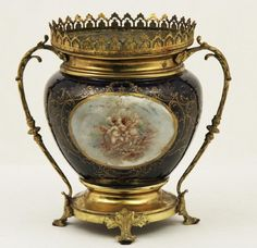 FRENCH BRONZE MOUNTED COBALT SEVRES JARDINIERE