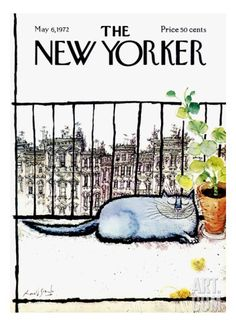 Ronald Searle, Cover illustration, The New Yorker Magazine, may 1972 The New Yorker, New Yorker Covers, Graphisches Design, Book Design, Capas New Yorker, Ronald Searle, Magazine Art, Magazine Covers, Cat Drawing