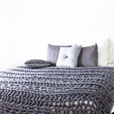 Merino Chunky Throw Blanket - Extra Large - Charcoal