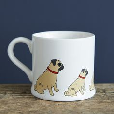 Pug mug £13.50 at www.twowoofs.co.uk