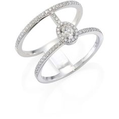 Messika Glam'Azone Two-Row Pavé Diamond & 18K White Gold Ring ($3,440) ❤ liked on Polyvore featuring jewelry, rings, white gold, fine jewelry, pave diamond ring, pave jewelry, 18k jewelry and pave diamond jewelry