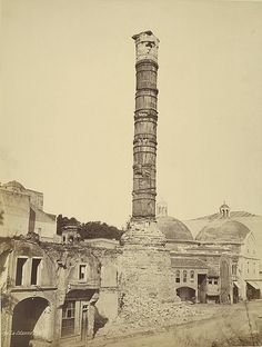The Burnt Column, Constantinople is a Roman monumental column constructed on the orders of the Roman emperor Constantine the Great in 330 CE. It commemorates the declaration of Byzantium (renamed by Constantine as Nova Roma) as the new capital city of the Roman Empire. A. D. White Architectural Photographs, Cornell University Library