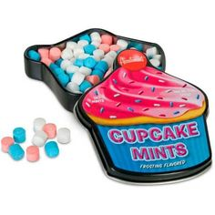 Quelch your craving for cupcakes with these delicious, frosting flavored Cupcake Mints! Each 7.6 cm x 6.4 cm x 1.3 cm tin contains about one hundred and thirty mints that will satisfy your sweet tooth without expanding your waistline. Imported from the USA