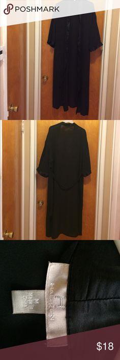 "Halston Silk Kimono Full length black silk kimono style robe. 2 pockets, tie belt. Some discoloration. See photos. 52"" neck to hem. Bundle with animal print silk robe, get additional 10% discount. Intimates & Sleepwear Robes"