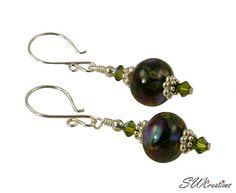 Olive Green Lampwork Bead Handmade Earrings
