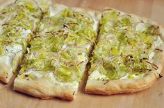 Leek, Ricotta, and Lemon Flatbread - Little wedges of this are more substantial than a lot of party food, and have a refreshingly bright taste.