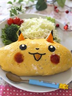 Pikachu Omelet Rice lunch recipe