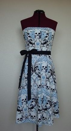 I found Cotton Gothic Skulls Floral Dress with Black Belt Medium on Wish, check it out!