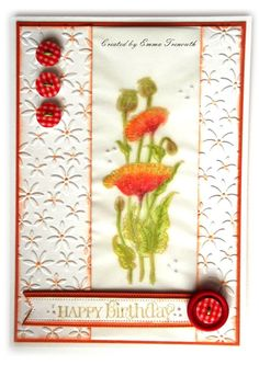 Poppies on vellum. Chocolate Baroque pretty poppies stamp. Spellbinders embossing folder, birthday floral card