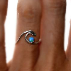 nice ROXY- Blue Opal Wave Ring