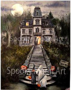 1313 Psycho Path varnished watercolor framed $450 www.spookymoonart.com