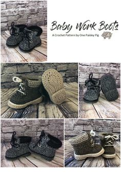 Fun Crochet Pattern - Crochet Baby Work Boots / Hiking Boots - Make your little one their own Timberland boots (#diy, #crochetpattern)