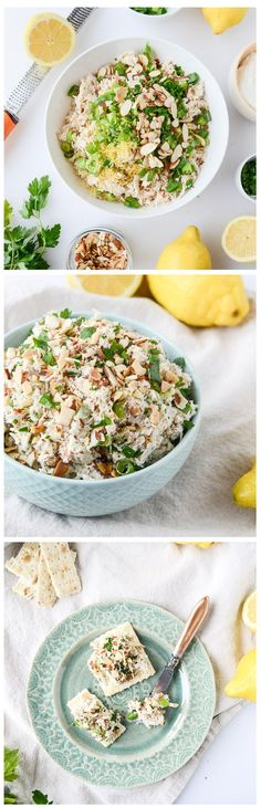 Lemon Almond Roast Chicken Salad with Greek Yogurt - super easy, healthy and perfect for spring and summer! Can also be made ahead of time! by @howsweeteats I howsweeteats.com