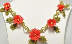 Red Crochet Flower NecklaceRed Coral NecklaceRed by needlecrochet, $60.00