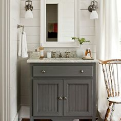 gray painted bathroom cabinet -- love this color for Gavin's bathroom cabinets!