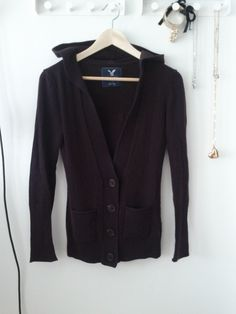 American Eagle Burgundy Hooded Cardigan Size XS $10