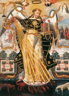 Saint Thomas Aquinas, Protector of the University of Cusco. Painting by the Cusco School. Catholic Doctrine, Catholic Art, Catholic Saints, Roman Catholic, Religious Art, Religious People, Patron Saints, Christianity, Christian Art