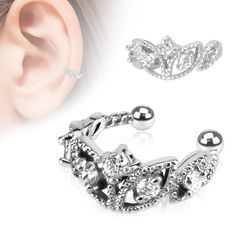 ~ Beautifully Gift boxed ~ Beaded clip on non piercing ear cuff earring with 5 Clear CZ gems Rhodium Plated Brass 1nlCPqF
