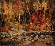 Tom Thomson | The Brook, Fall 1914 Contemporary Landscape, Abstract Landscape, Landscape Paintings, Landscapes, Emily Carr, Canadian Painters, Canadian Artists, Group Of Seven Artists, Watercolor Trees