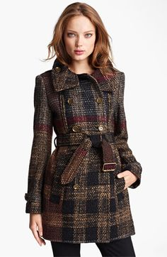 Burberry Brit Double Breasted Wool Blend Coat