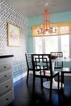 turquoise, orange & yellow plus that wallpaper? OMG!