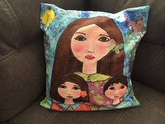 Pillow Cover 17x17 Mother with Daughter and Son by Elizabeth