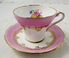 Pink Tea Cup and Saucer with Flowers by Royal Stafford, Corset Shape, Vintage Bone China
