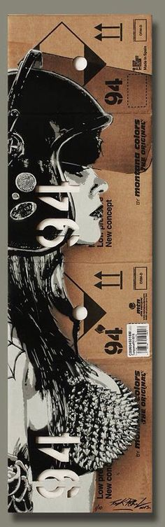 "illustration | By Tankpetrol - ""Riot Girl 94"" - Stencil and spray on flatten montana box - 2013"