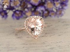 Custom Order for Special Demand: Morganite Engagement Ring,10x12mm Pear Cut Stone,Solid 14K Rose Gold,Half Eternity,1ct Diamond Total - Wedding favors (*Amazon Partner-Link)
