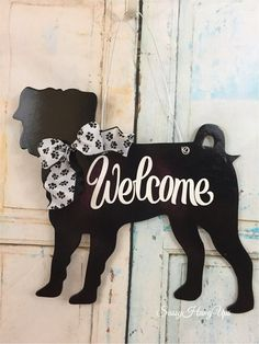 Your place to buy and sell all things handmade Wall Hanger, Door Hangers, Pug Christmas, Christmas Ornaments, Dog Leash Holder, Candle Arrangements, Dog Wreath, Wooden Cutouts, Spring Sign