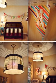 beautiful pendants and light from vintage circus themed nursery - Baby Themed Rooms