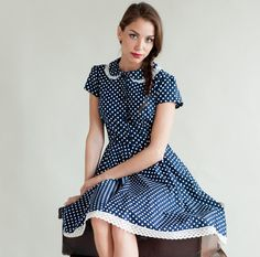 Navy spotty dress