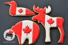 Canada Day Loon, Moose & Polar Bear - Any good sugar cookie recipe would work well for these. Best Sugar Cookie Recipe, Best Sugar Cookies, Iced Cookies, Cute Cookies, Royal Icing Cookies, Canada Day 150, Canada Canada, Canada Day Fireworks, Canada Day Crafts