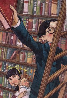 Baudelaires in Library by Brett Helquist