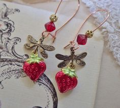 Strawberry Earrings ~ Strawberry Red Dangles ~ Strawberry Jewelry by WingsandWhispers on Etsy https://www.etsy.com/listing/230972363/strawberry-earrings-strawberry-red