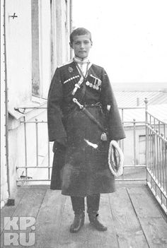 The Russian Tsarevich Alexei in Georgian national costume. 1916. This may be taken at the Governor's mansion in Tobolsk during the family's captivity.