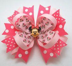 Boutique hechas a mano ratón rosa arco del pelo de la cabeza