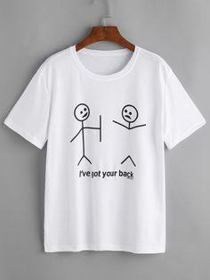 Camiseta estampada de dibujo y letras-Spanish SheIn(Sheinside)