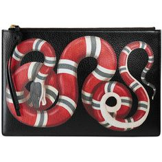 Gucci Snake Print Leather Pouch (£615) ❤ liked on Polyvore featuring bags, handbags, clutches, black, gucci purses, pouch purse, genuine leather purse, python handbags and leather purses