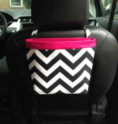 Car Headrest Caddy ~ Black Chevron with Hot Pink Band