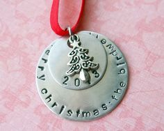 Hand Stamped Personalized Family Christmas Ornament with Date