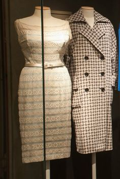 A cotton dress and checkered coat, both owned by Marilyn ~ The Marilyn Monroe Exhibit.