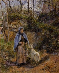 Peasant Woman with a Goat, 1881 - Camille Pissarro - WikiArt.org