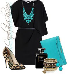 Turquoise! Goes with my eyes! Black turquoise and leopard - LOVE. Make the dress casual and the shoes flats