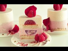 Raspberry Lychee Individual Mousse Cakes with Rose Water – Ispahan Dessert Version - YouTube