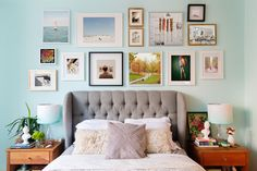 Image result for gallery wall with multi colored frames