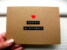 Kraft Birthday Card - Happy Birthday - Dymo Labels & Little Red Heart on Etsy, $3.93