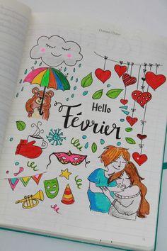 Inspiration Bienvenue Février pour le bullet journal. (http://aurelabelette.canalblog.com/archives/2017/02/03/34888242.html)